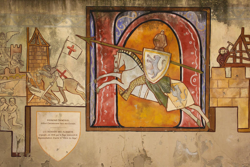 壁画 描述骑士的被绘的墙壁 卡尔卡松 法国 免版税库存图片