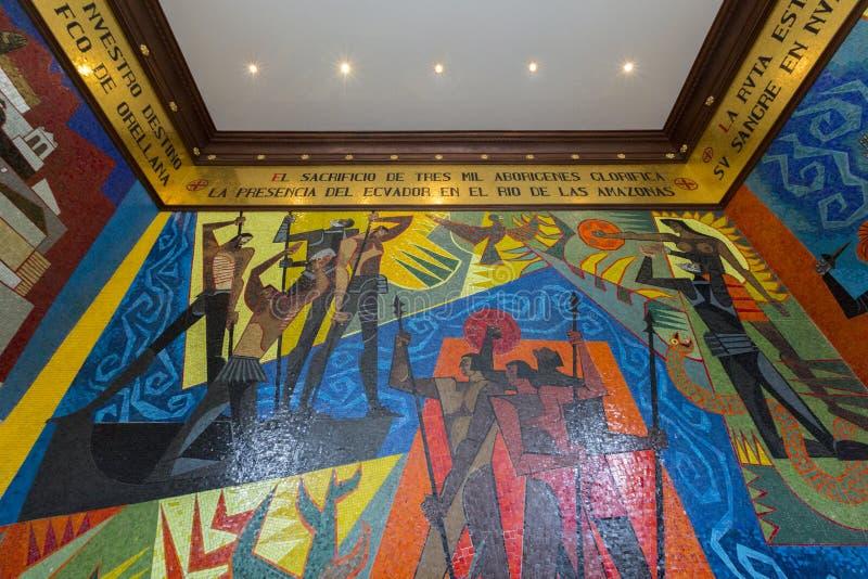 壁画瓜亚萨明在基多的总统府,厄瓜多尔 库存照片