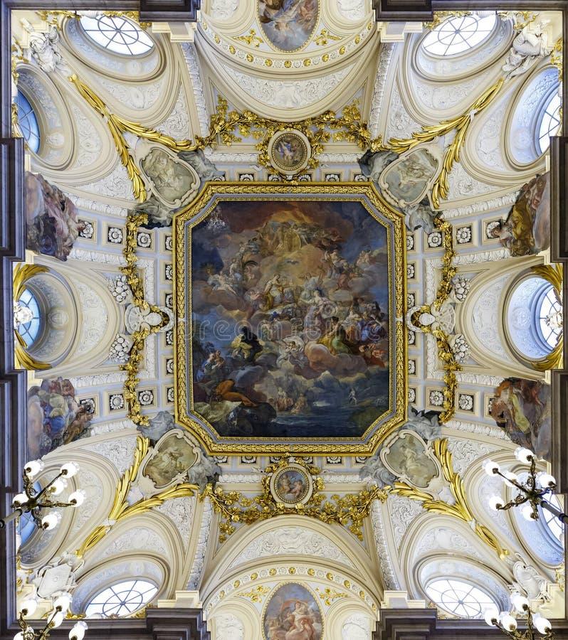 壁画科拉多Giaquinto,马德里王宫  免版税库存图片