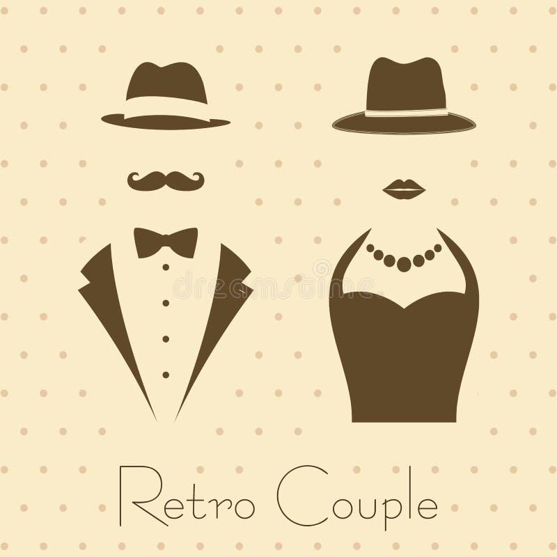 绅士和夫人葡萄酒样式的 库存例证