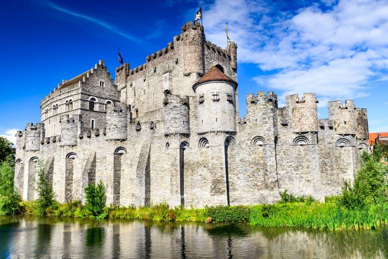 绅士Gravensteen城堡比利时 免版税库存图片