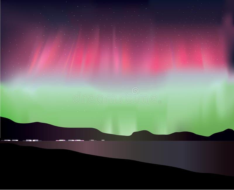 壮观的北极光在冰岛 向量例证