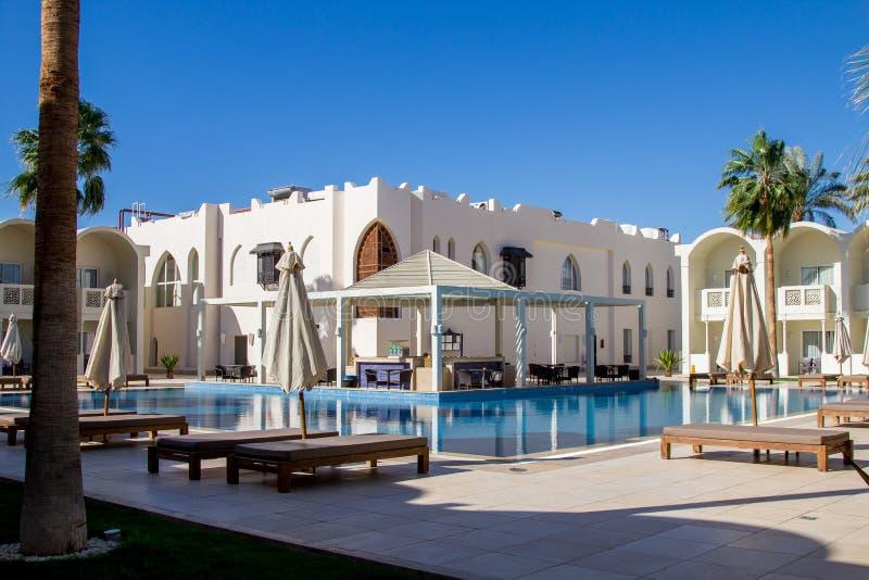 壮观的地中海豪华旅馆,围场的可爱的风景埃及手段 库存图片
