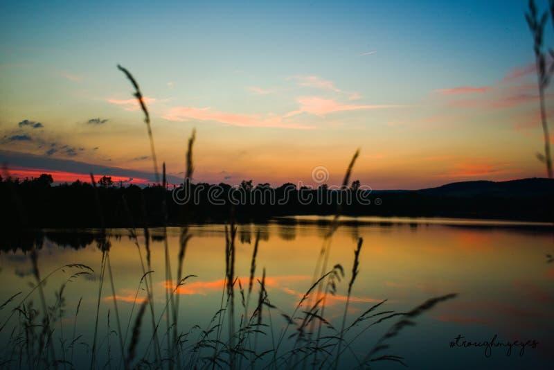 壮观的夏天日落 库存照片
