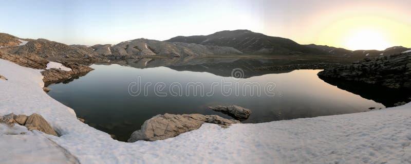 壮观的山湖、snowmelt和水 库存图片