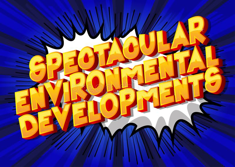 壮观的环境发展-漫画样式词 向量例证