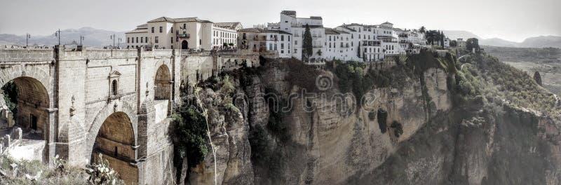 壮观的看法朗达在安大路西亚西班牙 免版税库存图片
