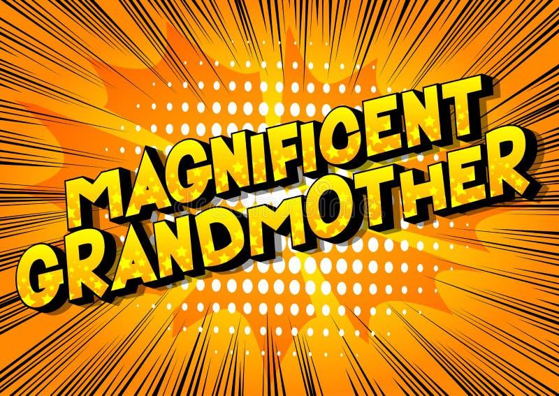 壮观的祖母-漫画样式词 库存例证