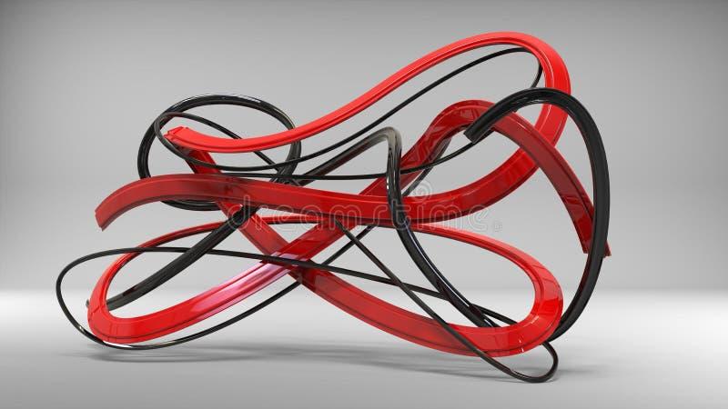 壮观的黑和红色抽象丝带和漩涡 向量例证