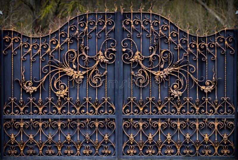 壮观的wrought-iron门,装饰锻件,伪造的元素特写镜头 库存照片