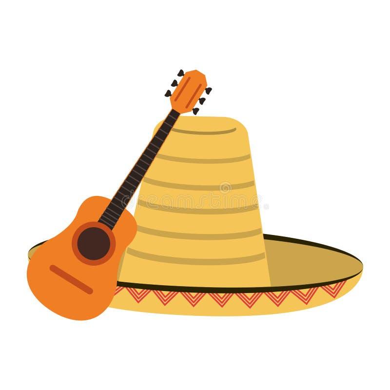声学吉他和墨西哥帽 库存例证