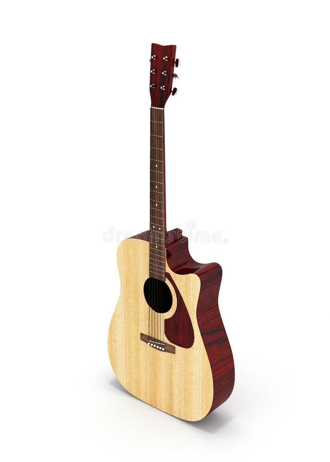声学吉他在白色背景隔绝的透视图3d 库存例证