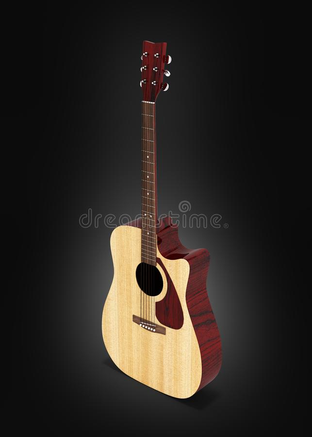 声学吉他在黑梯度背景3d的透视图 向量例证