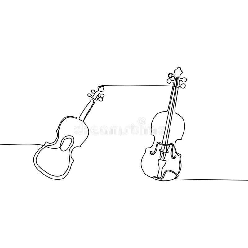 声学吉他小提琴一线乐器乐队动画片例证  库存例证