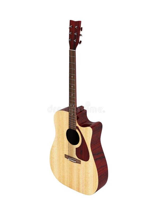 声学吉他没有阴影的透视图在白色背景3d 库存例证
