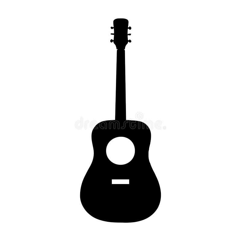 声学吉他黑色在白色,传染媒介eps 10的剪影象 皇族释放例证