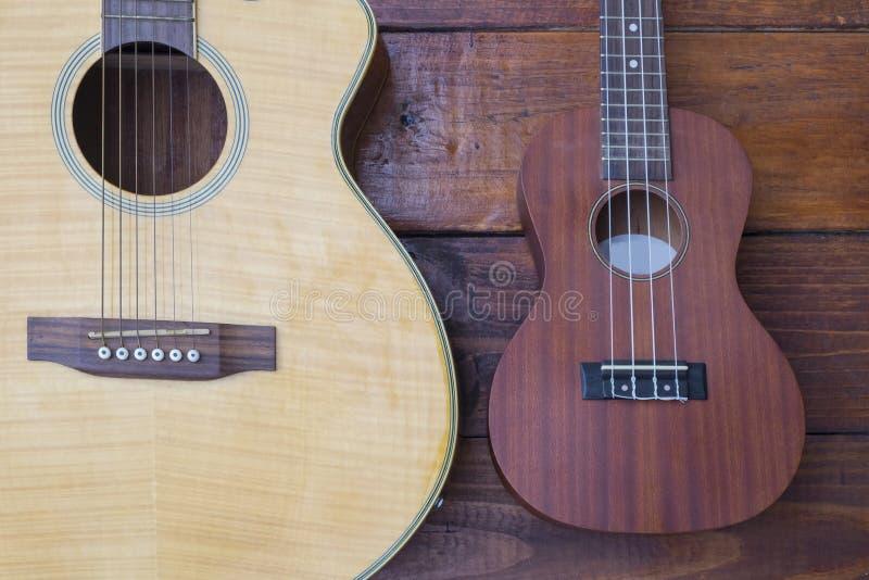 声学吉他和尤克里里琴 库存照片