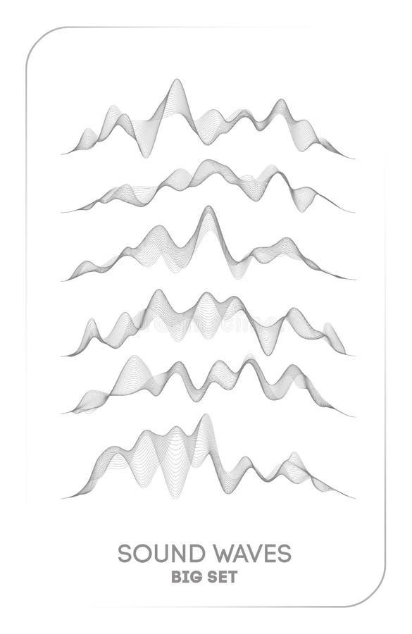 声波传染媒介 导航音乐声音振动、歌曲信号波形数字式光谱、音频脉冲和信号波形频率 向量例证