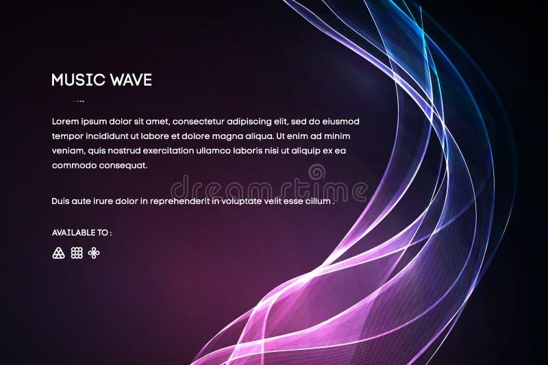声波传染媒介 导航音乐声音振动、歌曲信号波形数字式光谱、音频脉冲和信号波形频率 库存例证