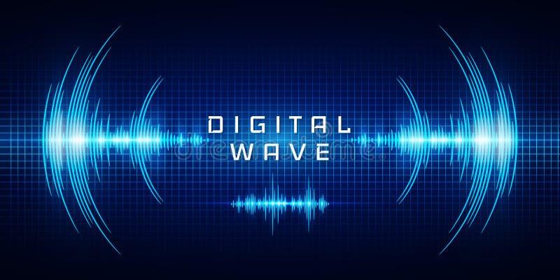 声波摆动的焕发点燃,数字式波浪,抽象技术背景-传染媒介 向量例证