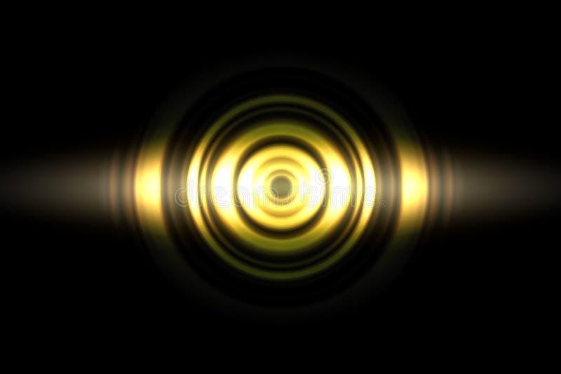 声波摆动的金光有圈子旋转摘要背景 库存例证