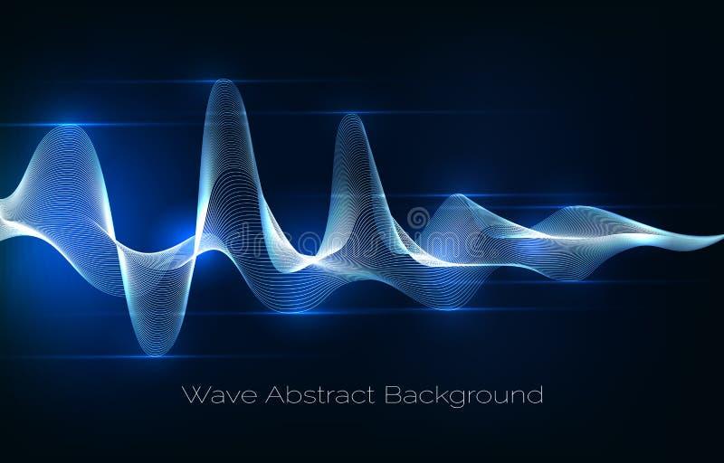 声波摘要背景 音频信号波形传染媒介例证 皇族释放例证