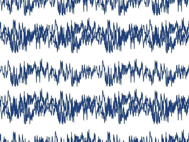 声波无缝的样式 音频技术不尽的背景,重复纹理的音乐脉冲 现代几何 向量例证