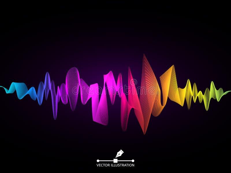 声波概念 五颜六色的数字调平器 抽象音频元素 在黑暗的背景的音乐脉冲 未来派颜色 皇族释放例证