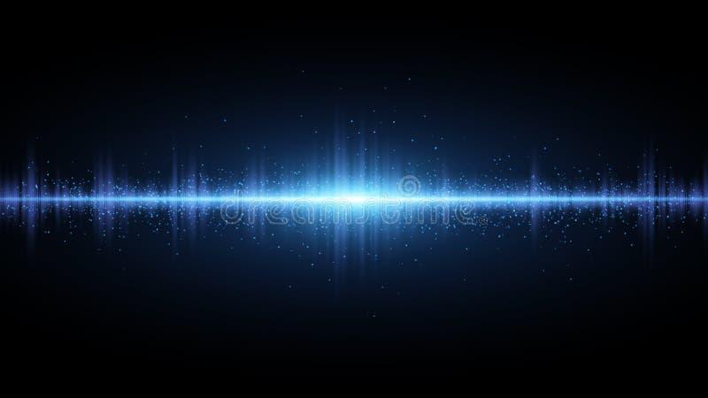 声波浅兰在黑暗的背景 收音机的背景,俱乐部,党 光的振动 光w明亮的闪光  向量例证