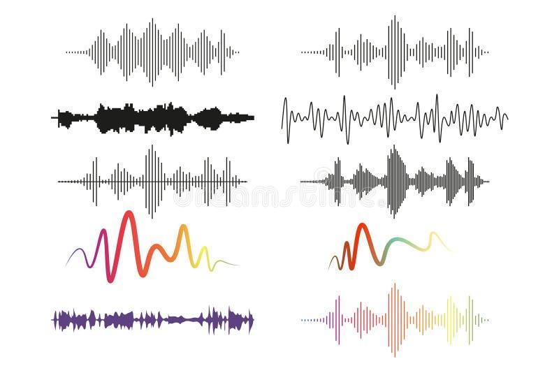 声波设置、音频数字均衡器技术、音频脉冲矢量在白背景上的图解 皇族释放例证