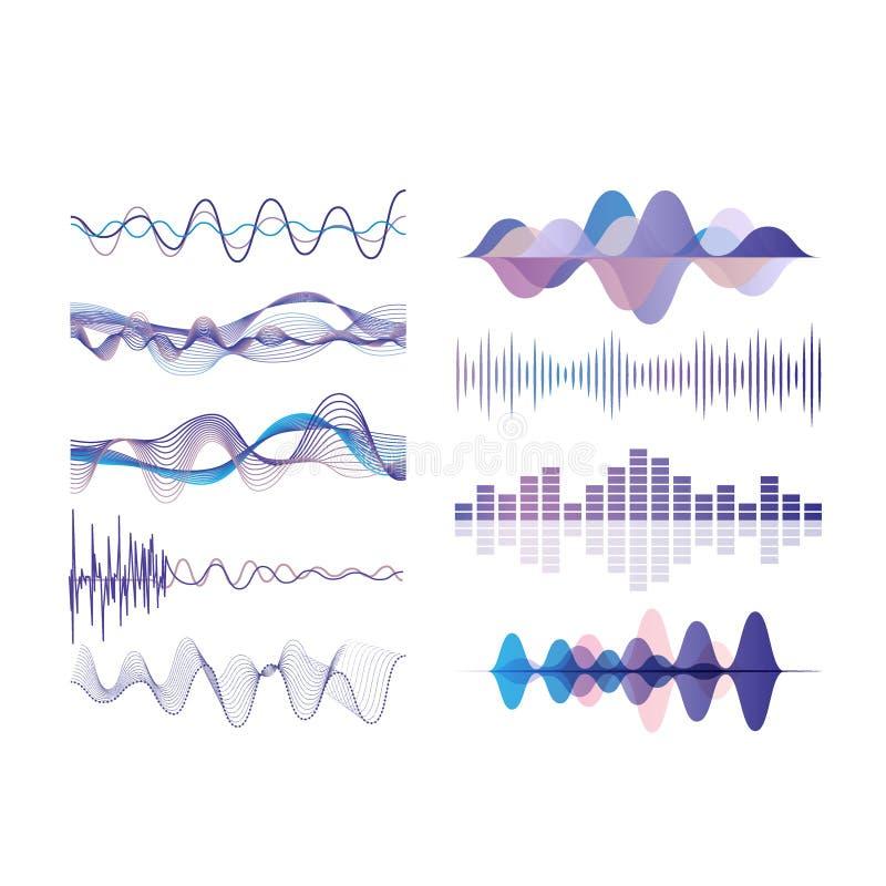 声波设置了,音频数字式调平器技术,在白色背景的音乐脉冲传染媒介例证 向量例证