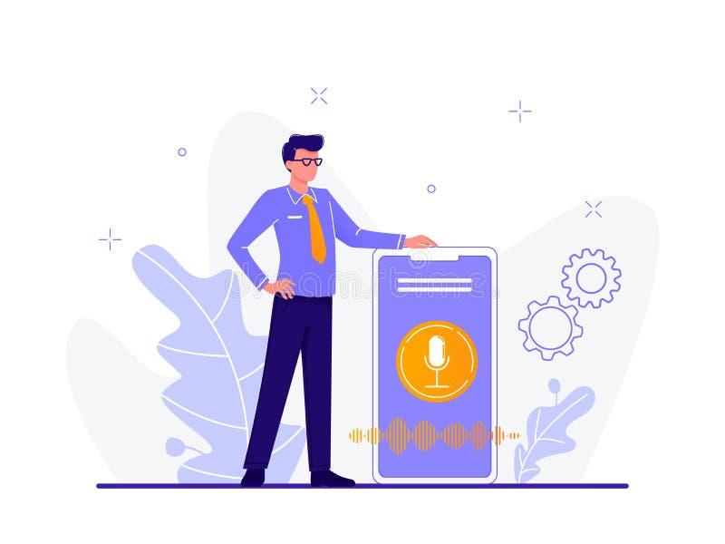 声音助理 在智能手机附近的商人 报告人公认,声音可控的聪明的报告人 声音活性化数字 免版税库存照片