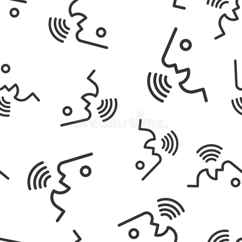 声音命令有声波象无缝的样式背景 讲控制向量例证 报告人人标志样式 向量例证