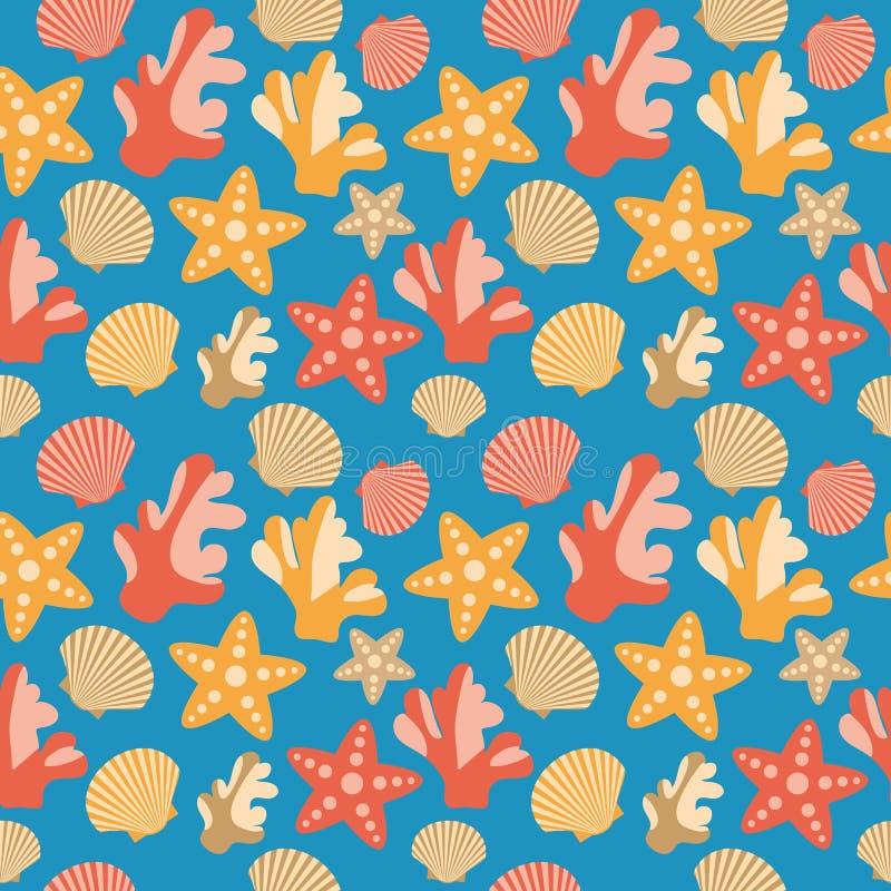 壳、珊瑚和海星无缝的纹理 库存例证