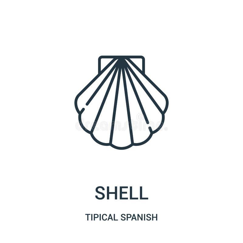 壳从tipical西班牙收藏的象传染媒介 稀薄的线壳概述象传染媒介例证 r 皇族释放例证