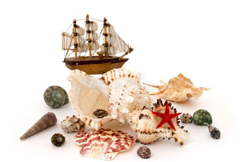 贝壳和玩具船被隔绝的白色 免版税库存图片