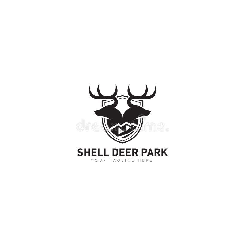 壳鹿公园商标设计的动物类别 库存例证