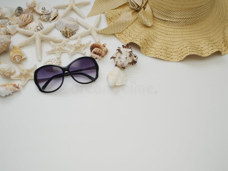 o 壳,草帽,太阳镜 库存照片