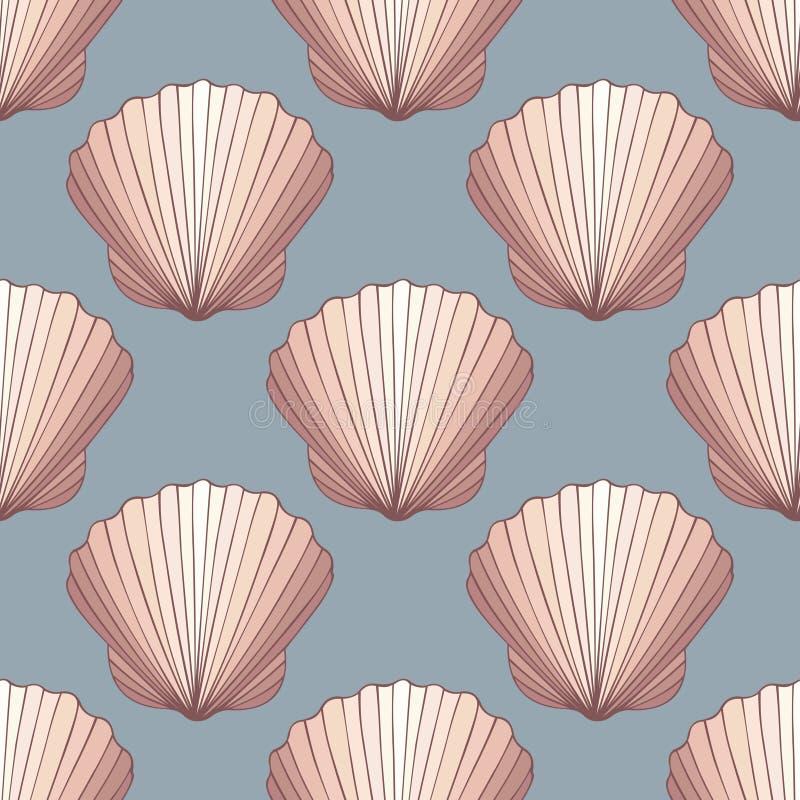 贝壳 无缝的装饰向量背景 库存例证
