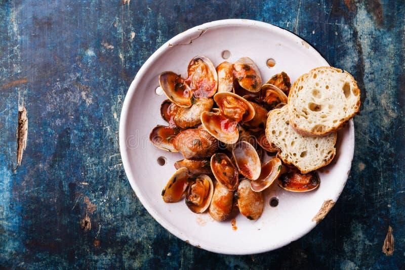 壳vongole用荷兰芹和西红柿酱 库存图片