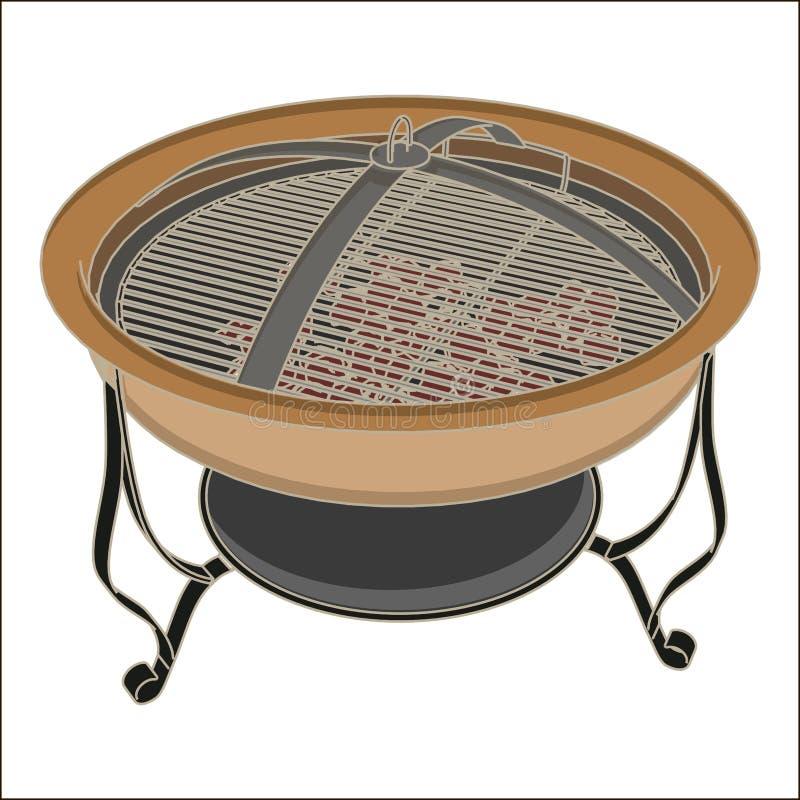 水壶传染媒介在白色和辅助部件的烤肉格栅 野营的桌和金属火炉烹调设备野餐bbq 木炭牛排 库存例证