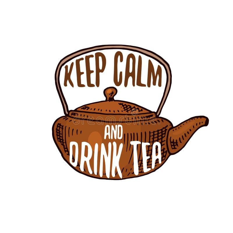 水壶和茶壶或者厨房器物,烹调菜单装饰的材料 烘烤商标象征或标签,被刻记的手 向量例证