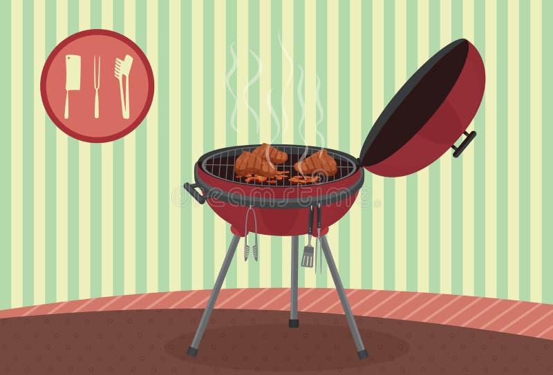 水壶在葡萄酒背景的烤肉格栅 野餐野营的烹调 向量例证