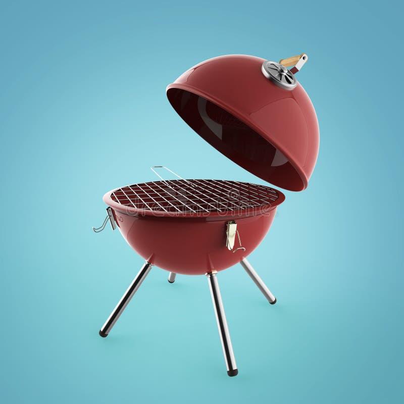 水壶烤肉与折叠的金属盒盖烤的, BBQ的木炭格栅回报被隔绝 皇族释放例证