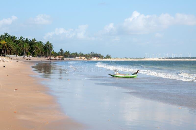 处于低潮中靠岸与小船, Pititinga,新生(巴西) 库存图片