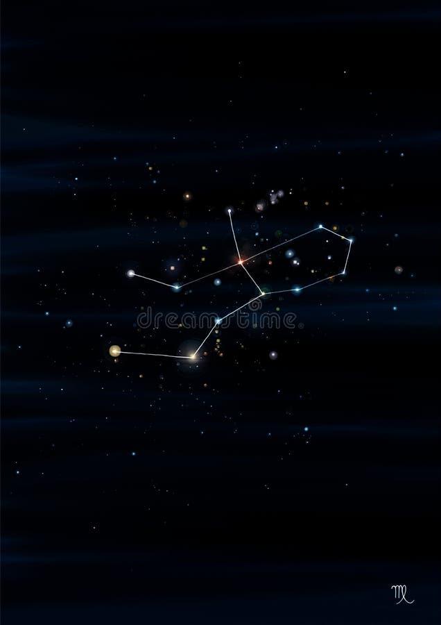 处女座在它真正的天空地点的星座例证 库存图片