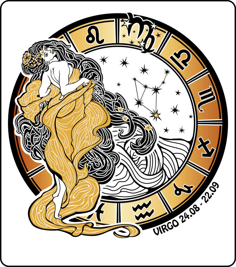 处女座黄道带标志。占星圈子。传染媒介Illustra 向量例证