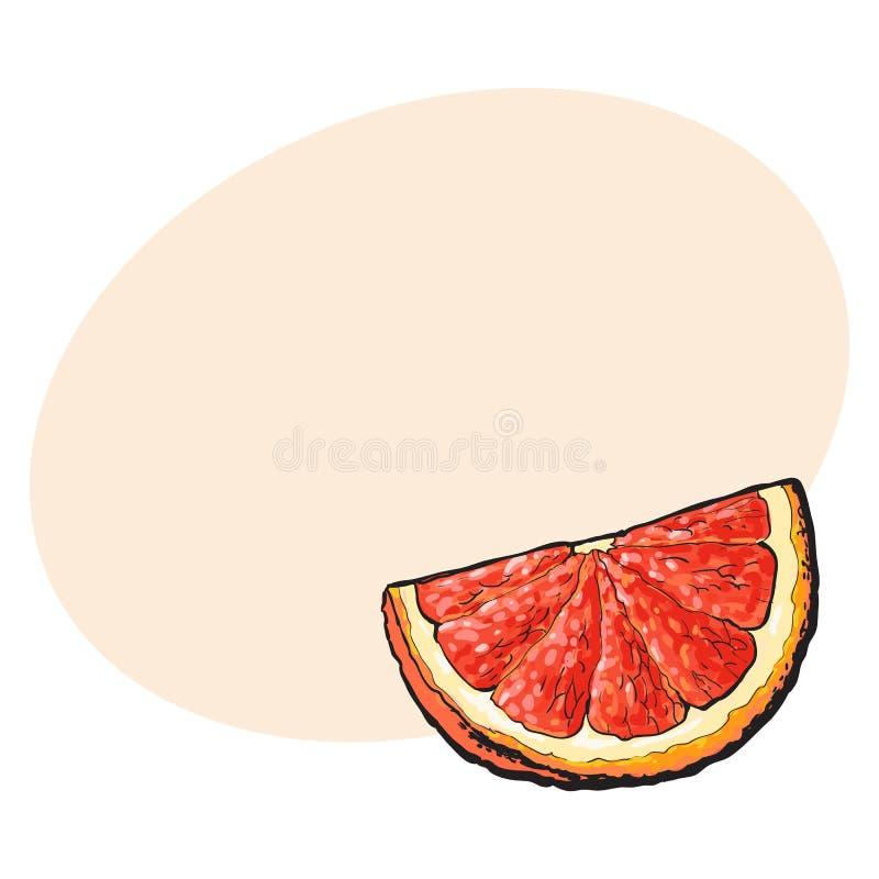处所,段,成熟粉红色葡萄柚,红色桔子片断  库存例证