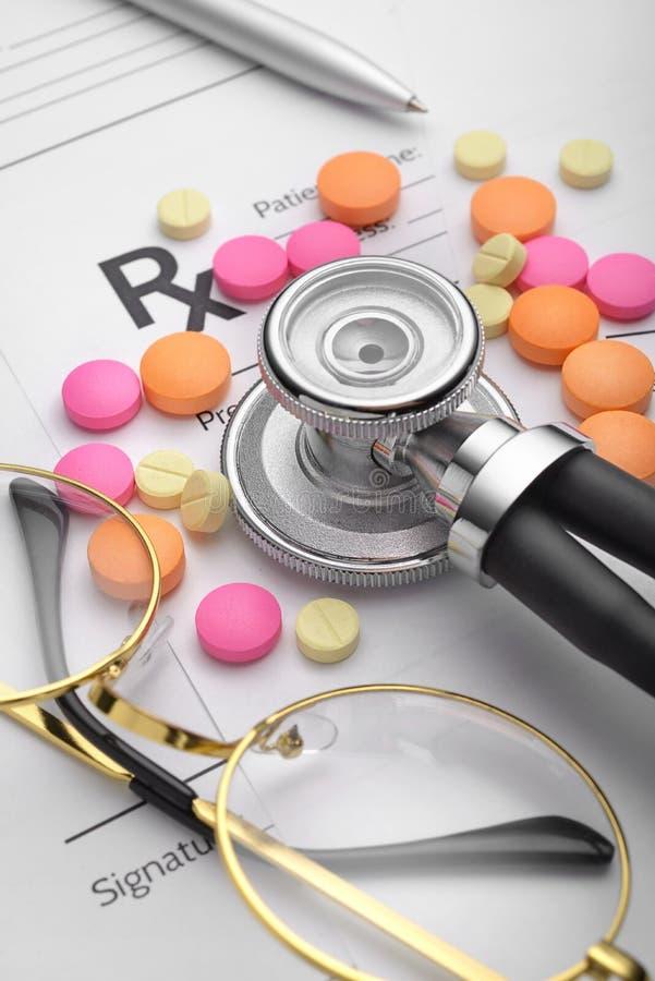 处方或Rx形式 医疗的生活仍然 库存照片