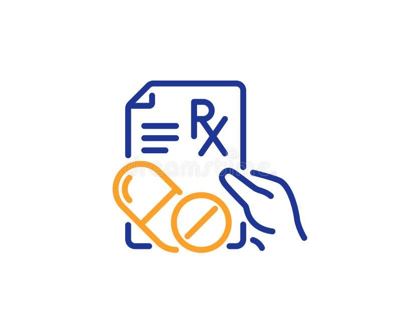 处方Rx食谱线象 医学药物药片签字 向量 皇族释放例证